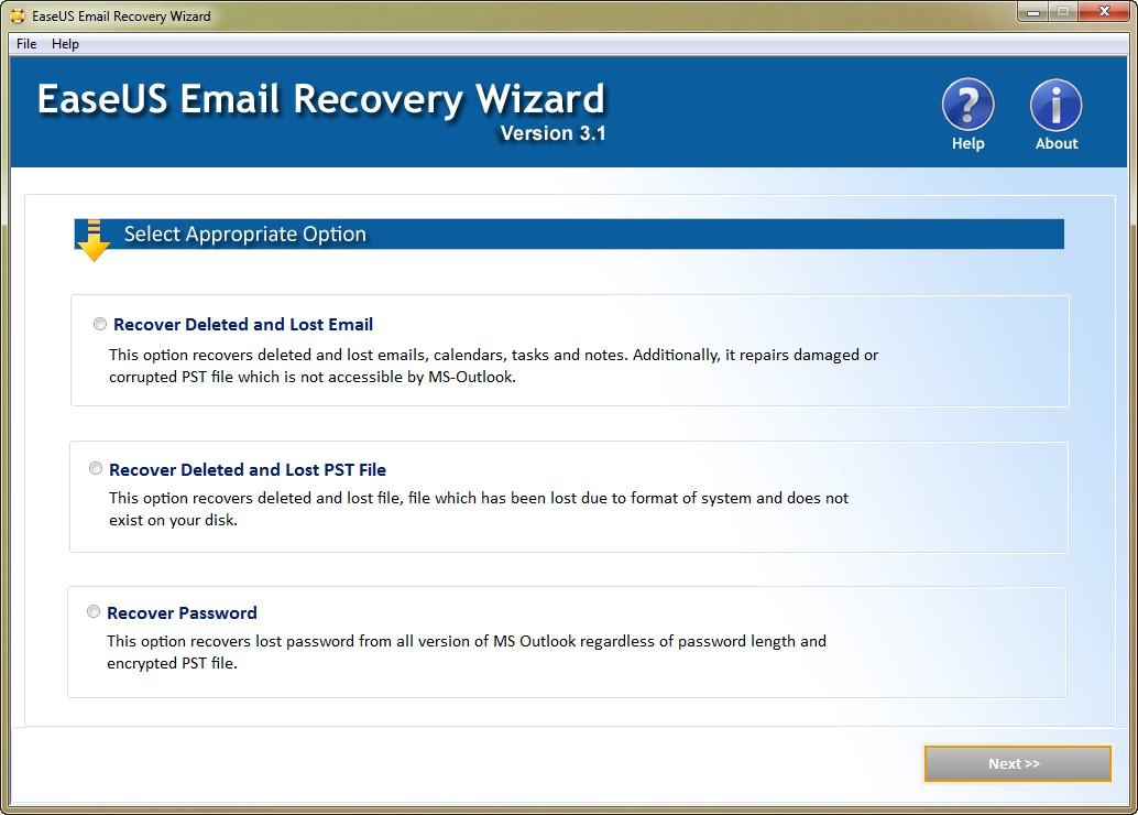 EaseUS Email Recovery Wizard 3.1