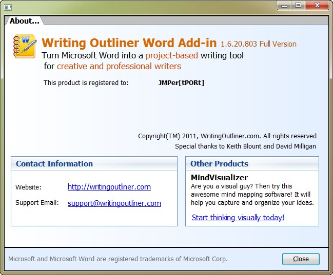 Writing Outliner Word Add-in 1.6.20.803