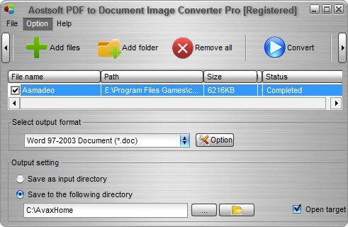 Aostsoft PDF to Document Image Converter Pro 3.8.6