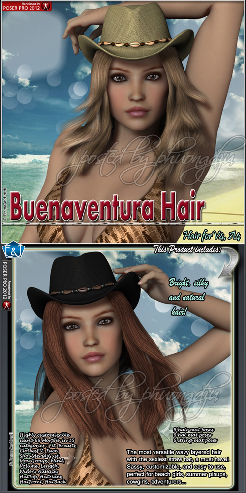 Renderosity Buenaventura Hair For V4 And A4