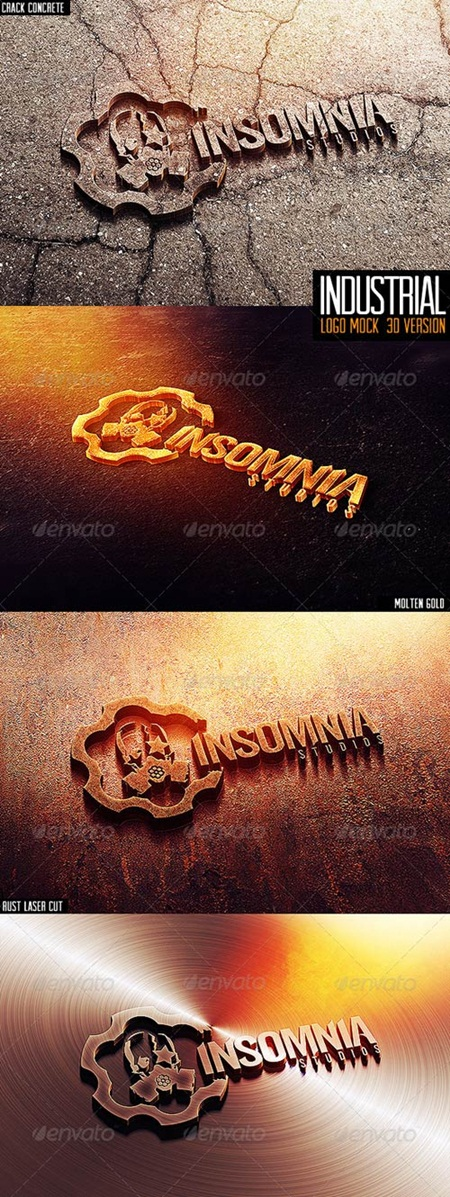 Industrial Photorealistic 3D Logo Mock-Up