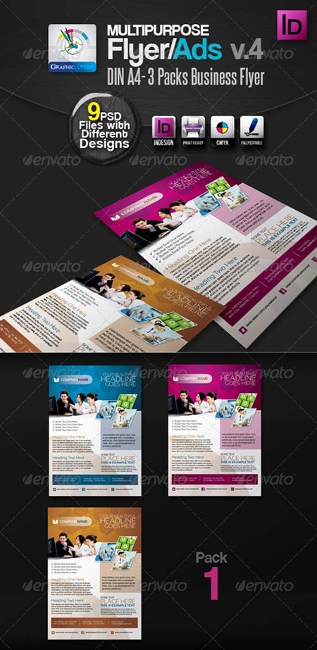 Multipurpose InDesign Flyers/Ads Pack v.4 多用途商业广告传单