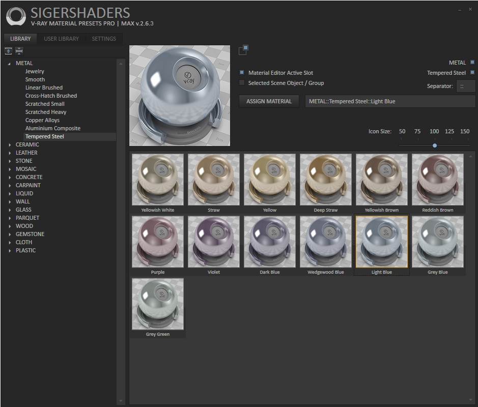 SIGERSHADERS V-Ray Material Presets Pro 2.6.3 for 3ds Max