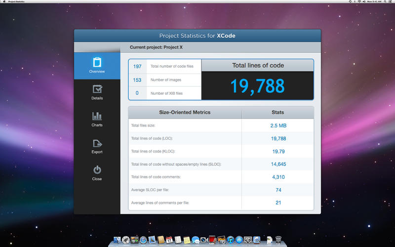 Project Statistics for Xcode v1.3 Mac OS X