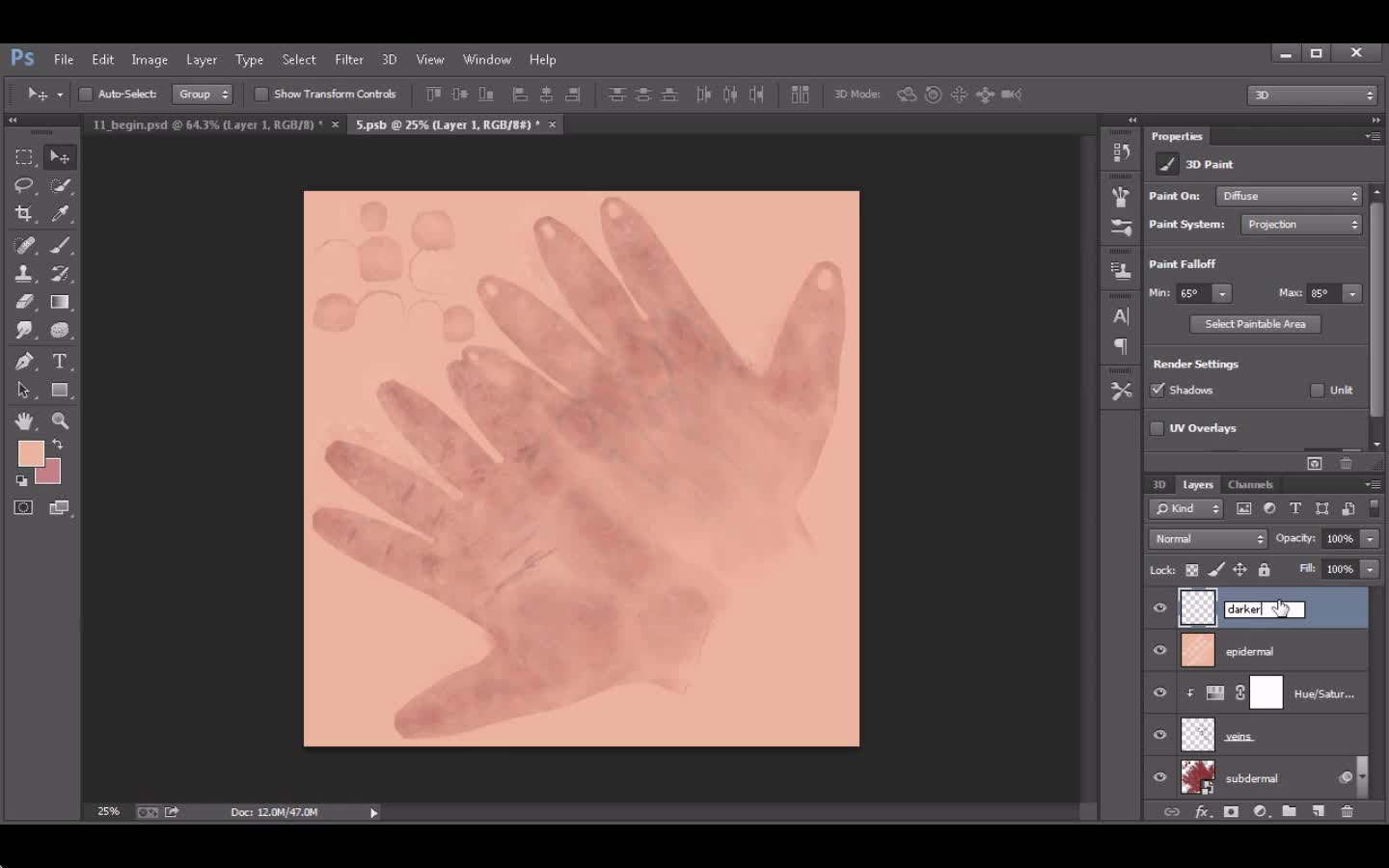 Eddie Russell - Painting Realistic 3D Skin Textures in Photoshop: Hands