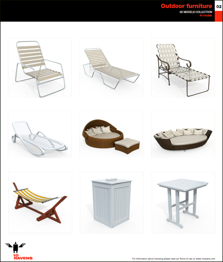 10ravens: 3D Models collection 014 Outdoor furniture 02