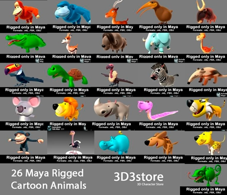 3D3Store - 26 Animals Collection - All Rigged