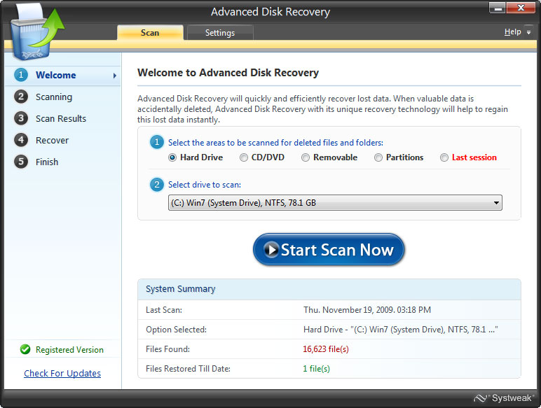Systweak Advanced Disk Recovery 2.5.5000.15827 Multilingual