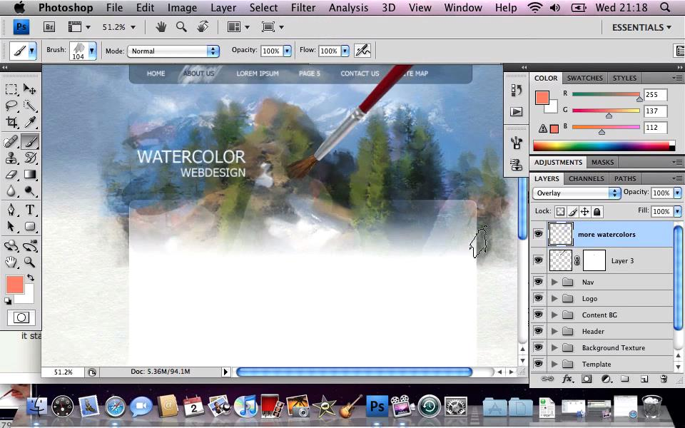 Create a Watercolor - Themed Website Design with Photoshop (Repost)