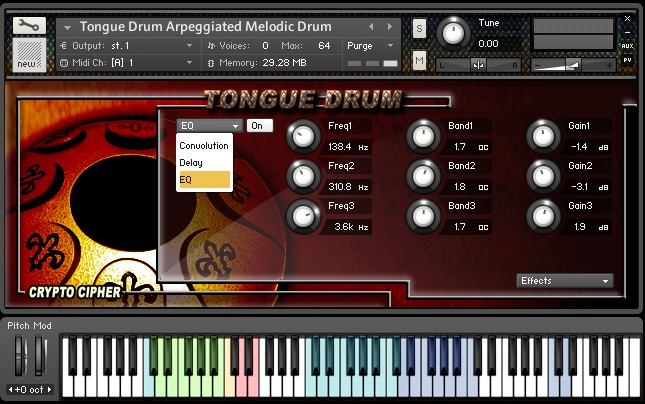 Crypto Cipher Tongue Drum KONTAKT