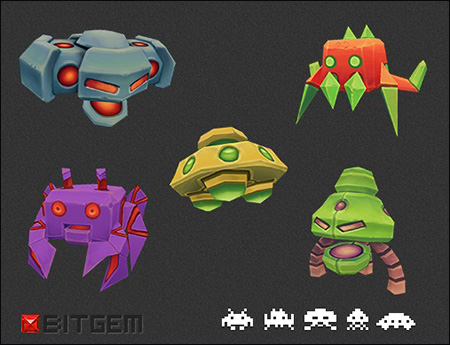 BitGem Low Poly Space Invaders Set