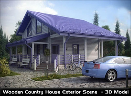 Wooden Country House Exterior Scene