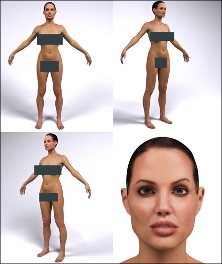 Angelina Jolie Digital Double from IR-MODELS MAX 2009 Mental Ray + OBJ