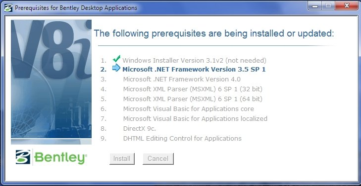 Prerequisites for Bentley Desktop Applications 08.11.09.03