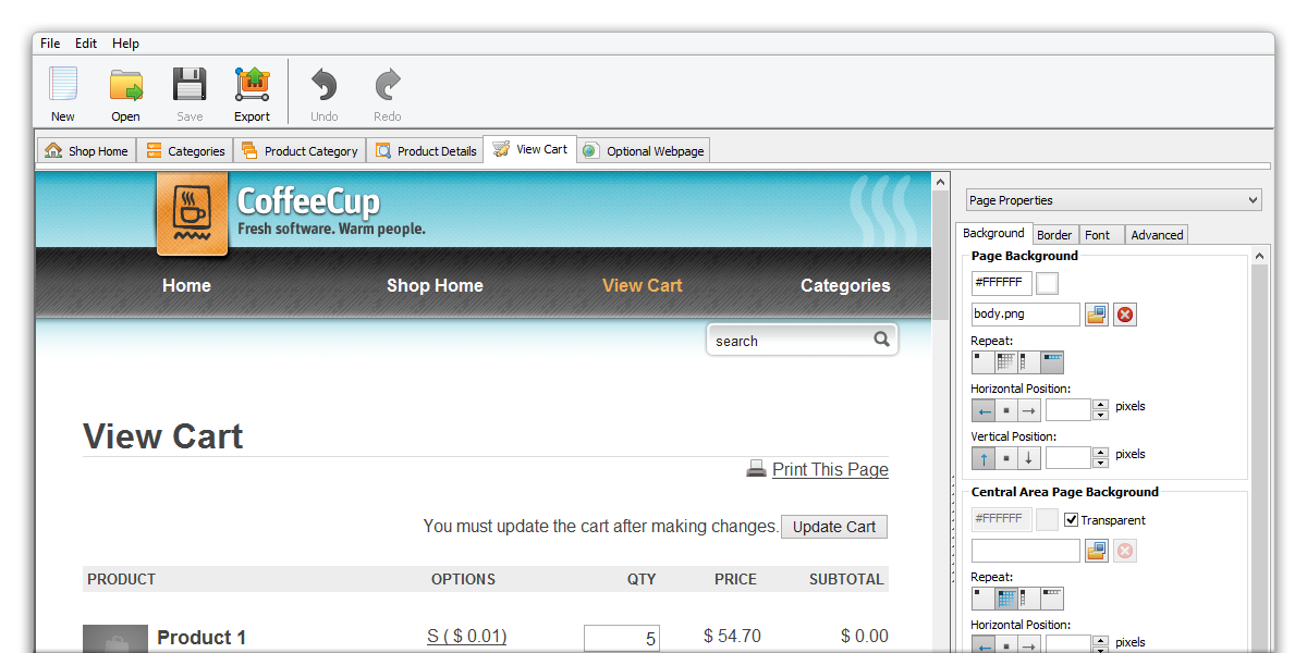 CoffeeCup Shopping Cart Designer Pro v3.9.463