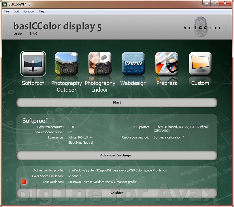 basICColor display 5.4.0 Build 54.62