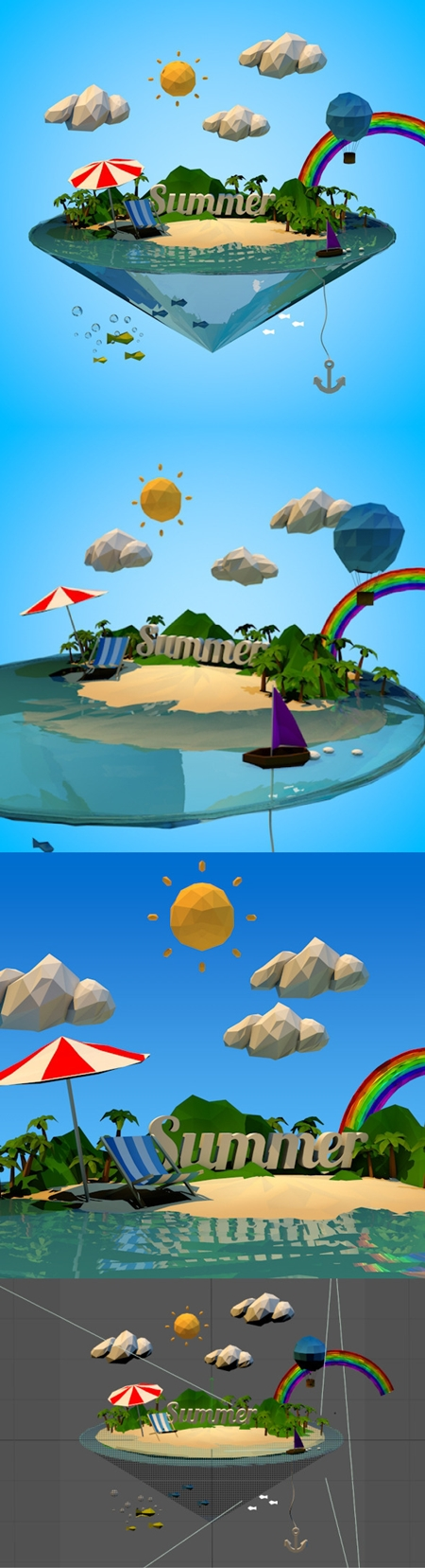 3D Ocean Abstract summer vacation with Low-poly style