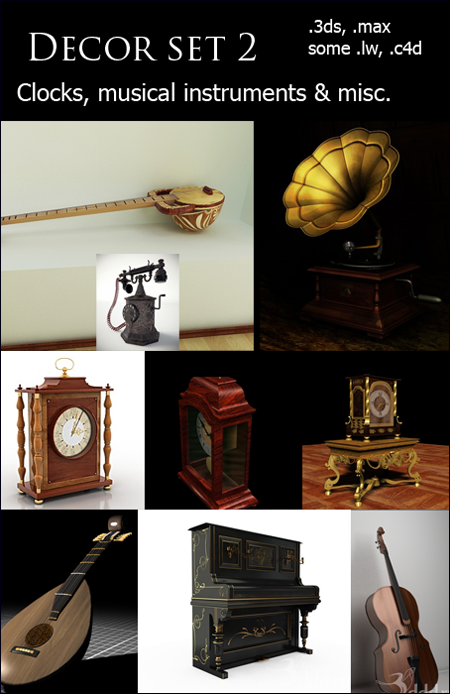 Decor Set 2 - Clocks, Musical Instruments & Misc