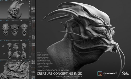 Gumroad - Creature Concepting In 3D By Dominic Qwek