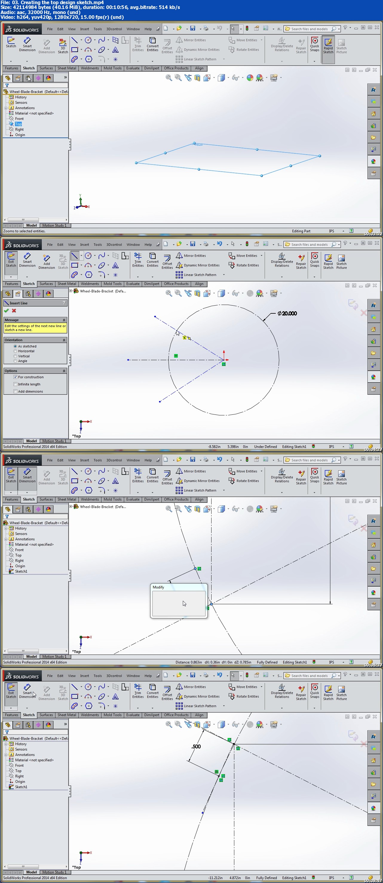 Creating a Wheel Blade Bracket in SolidWorks