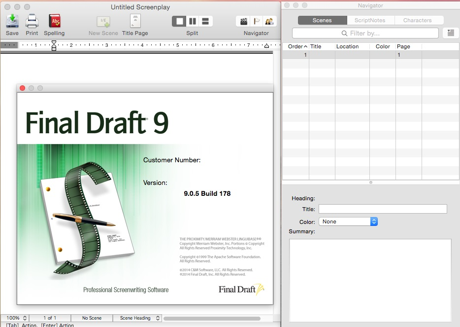 Final Draft 9.0.5 build 178 Mac OS X