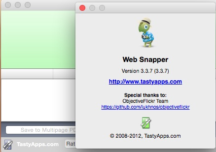 Web Snapper 3.3.7 Mac OS X