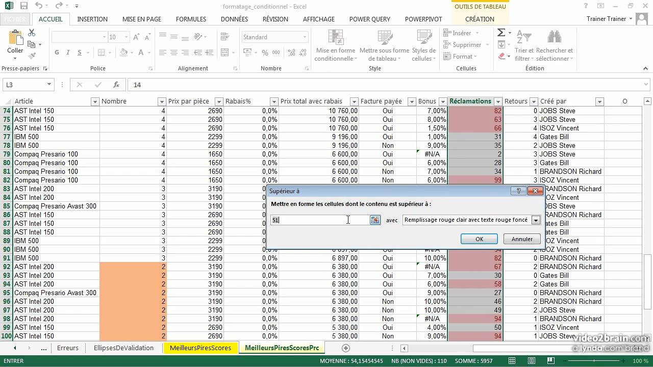 Le formatage conditionnel avec Excel 2013