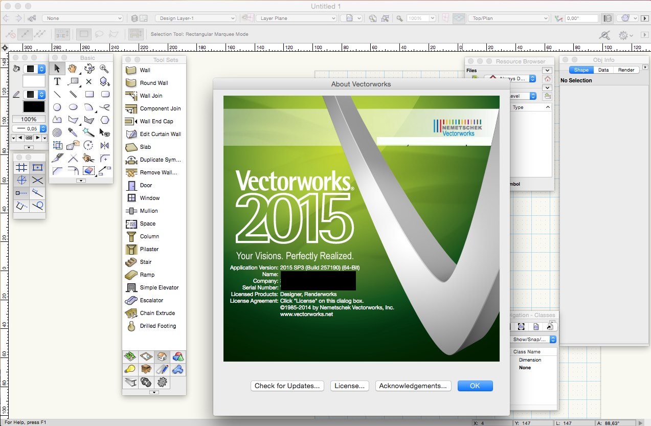 Vectorworks 2015 SP3 (build 257190) Mac OS X