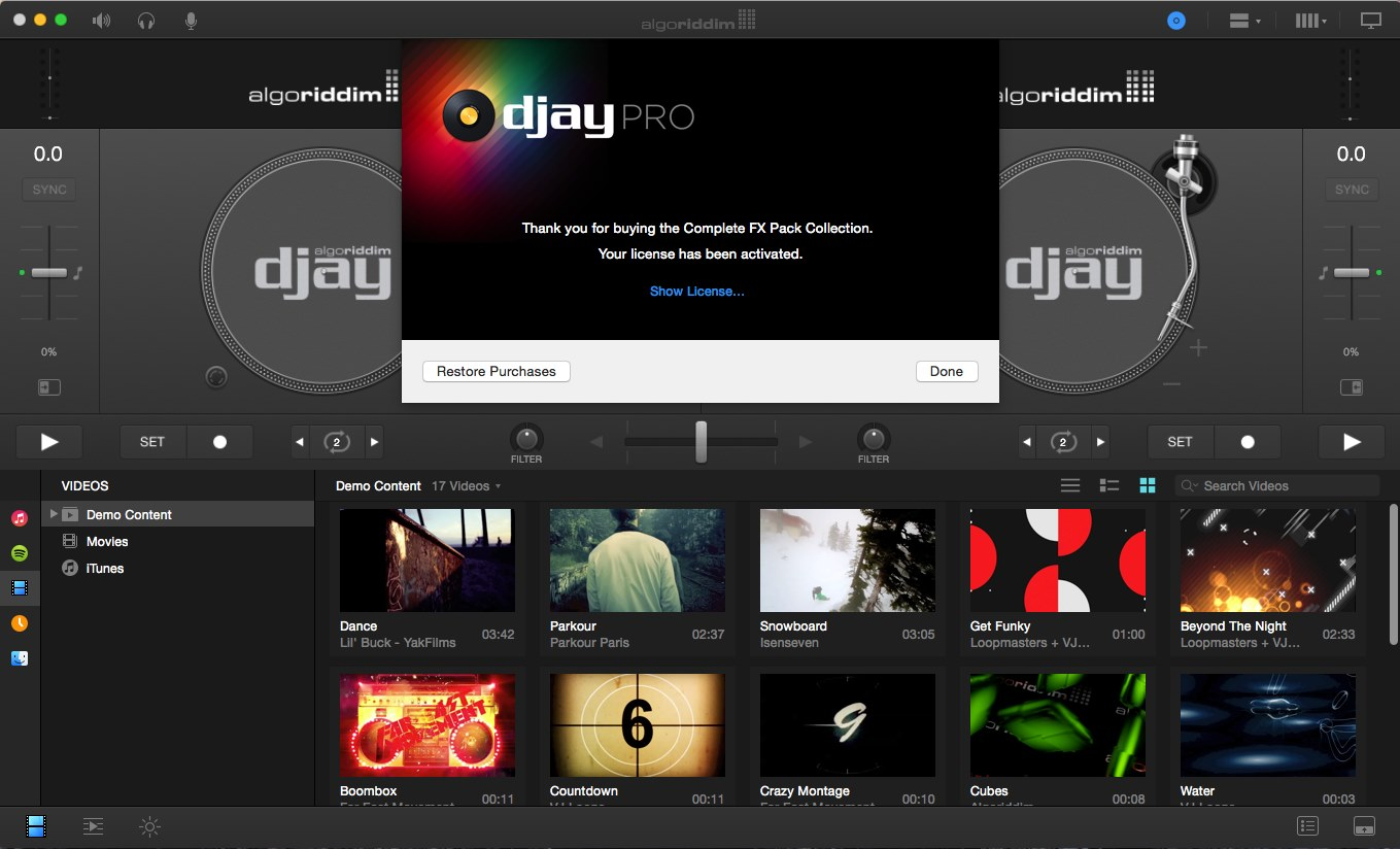 Algoriddim djay Pro 1.1 + Complete FX Pack Collection Multilangual Mac OS X