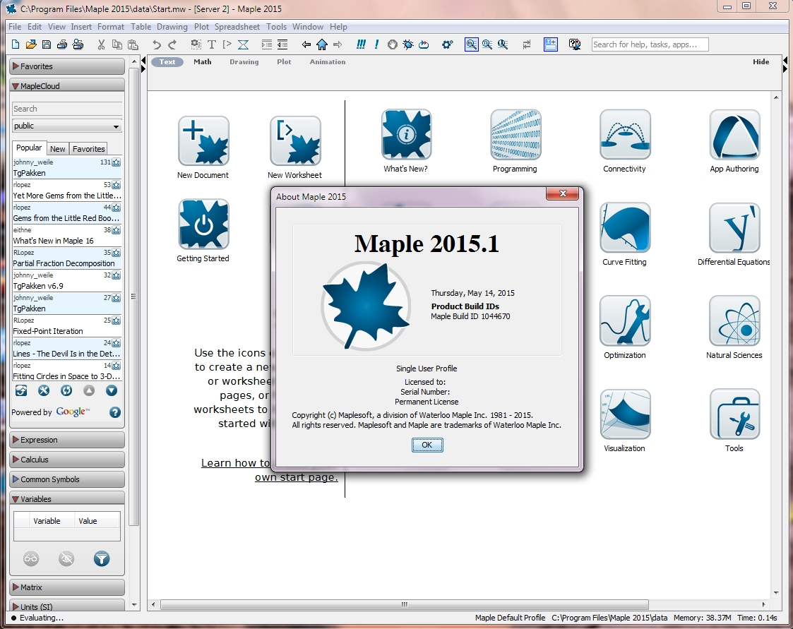 Maplesoft Maple 2015.1