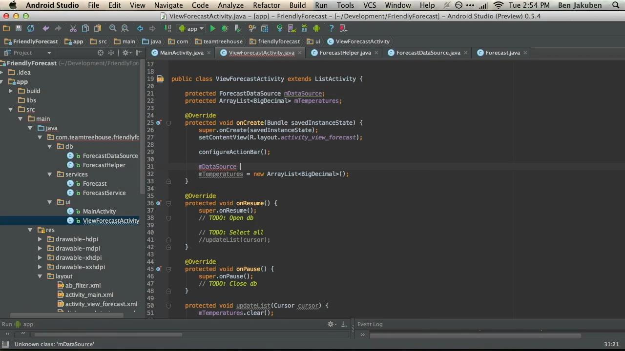 Teamtreehouse - Android Data Storage with SQLite with Ben Jakuben