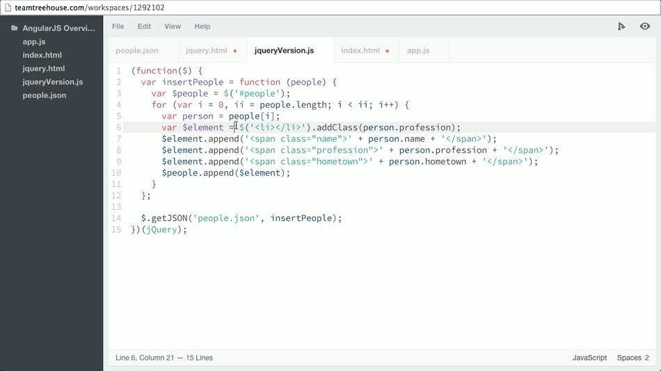 Teamtreehouse - AngularJS