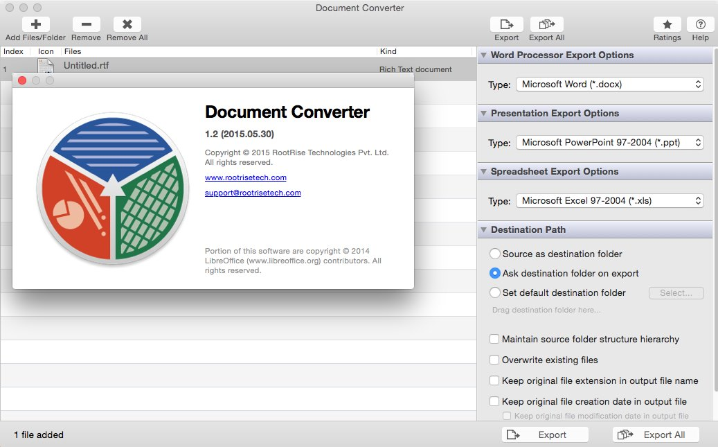 RootRise Document Converter 1.2 Mac OS X