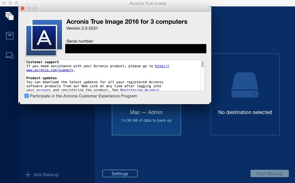 Acronis True Image for Mac 2016 2.0.5531 Multilangual Mac OS X