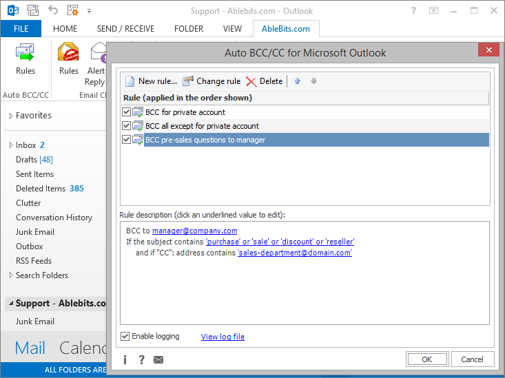AbleBits Auto BCC/CC for Microsoft Outlook 4.2.5.652