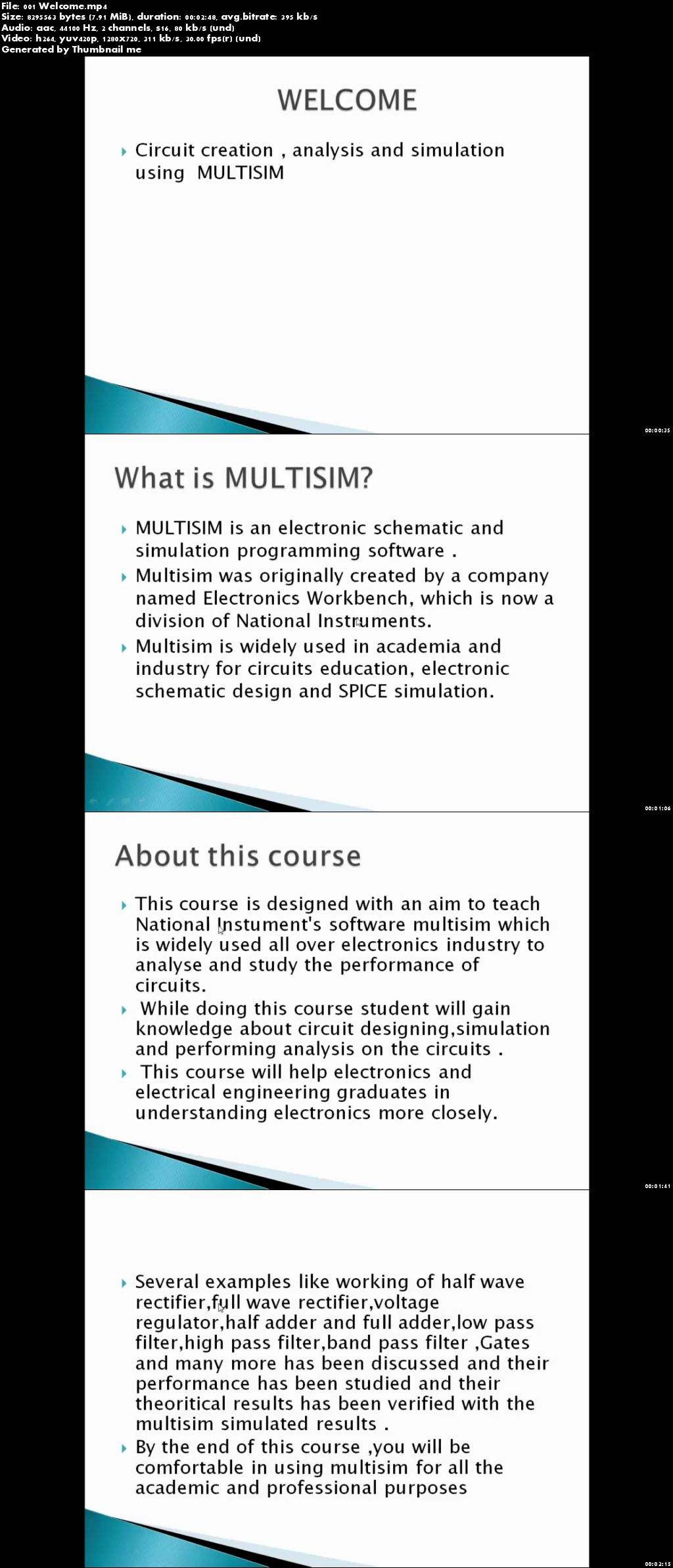 Circuit creation,analysis and simulation using MULTISIM
