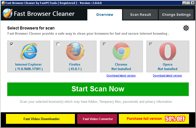 Fast Browser Cleaner 2.0