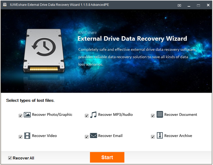 IUWEshare External Drive Data Recovery Wizard 1.1.5.8 Unlimited / AdvancedPE