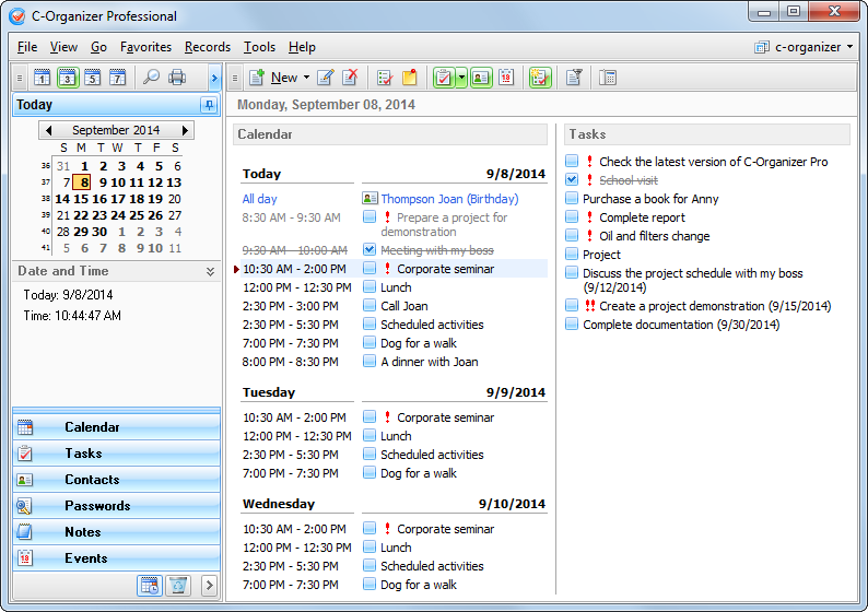 C-Organizer Professional 5.1.1 Multilingual Portable