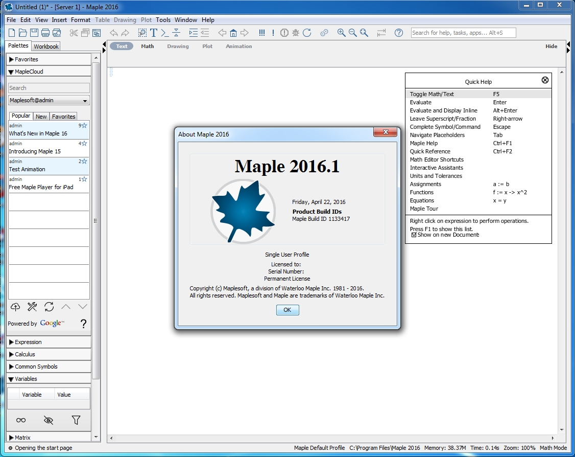 Maplesoft Maple 2016.1a (32bit)