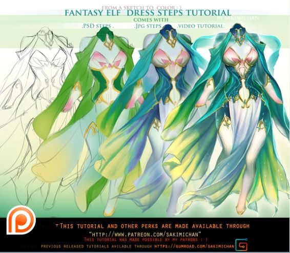 Fantasy Elf Dress Stey by Stey Tutorial Pack
