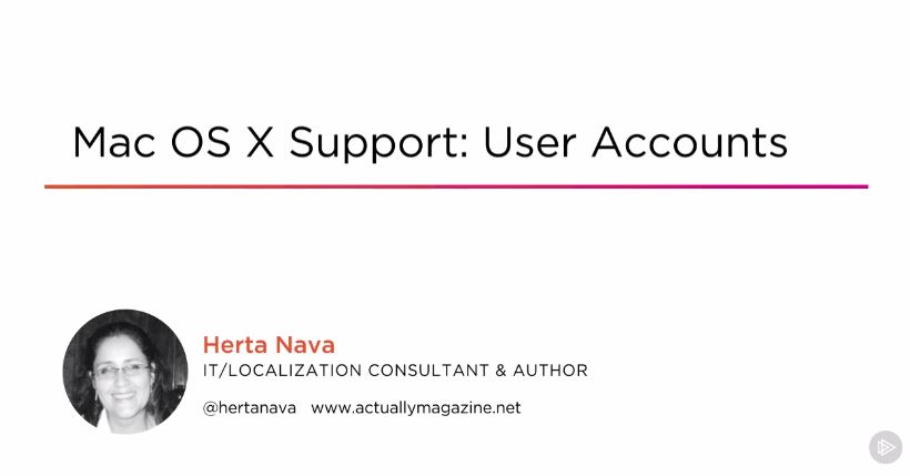 Mac OS X Support: User Accounts (2016)