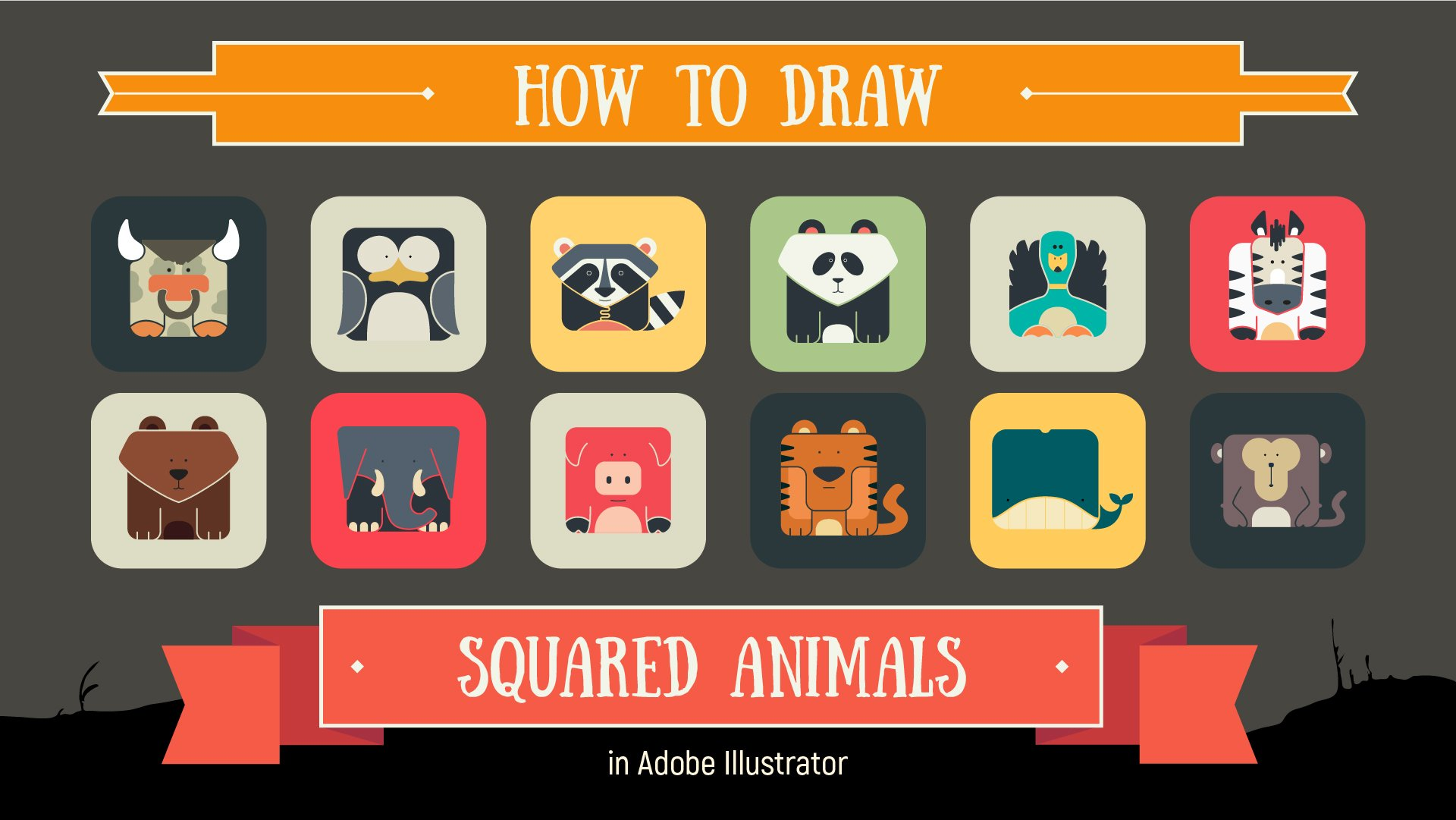 Digital Illustration: How to Draw Squared Animals in Adobe Illustrator