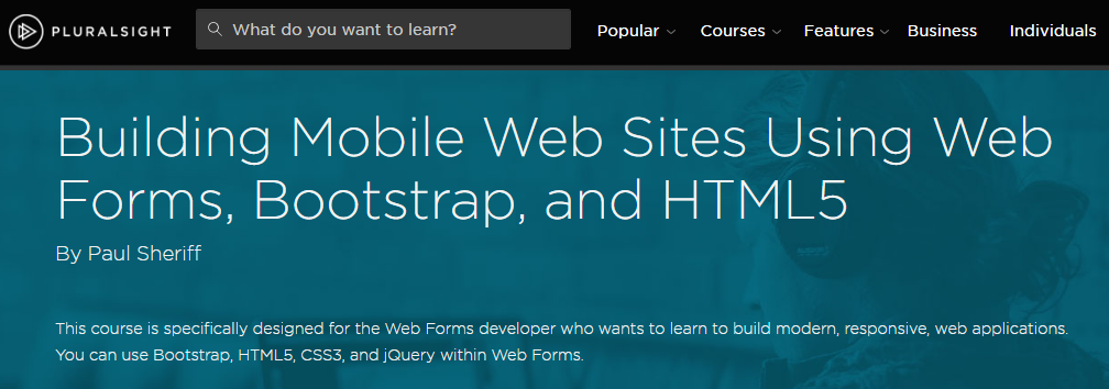 Building Mobile Web Sites Using Web Forms, Bootstrap, and HTML5 [repost]