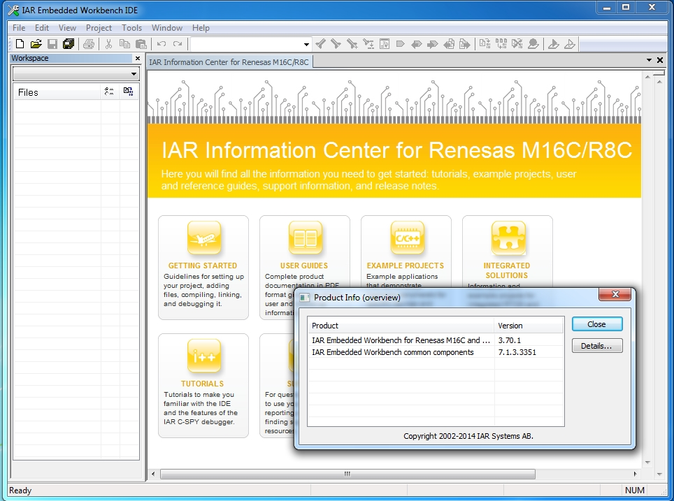 IAR Embedded Workbench for M16C & R8C version 3.70.1