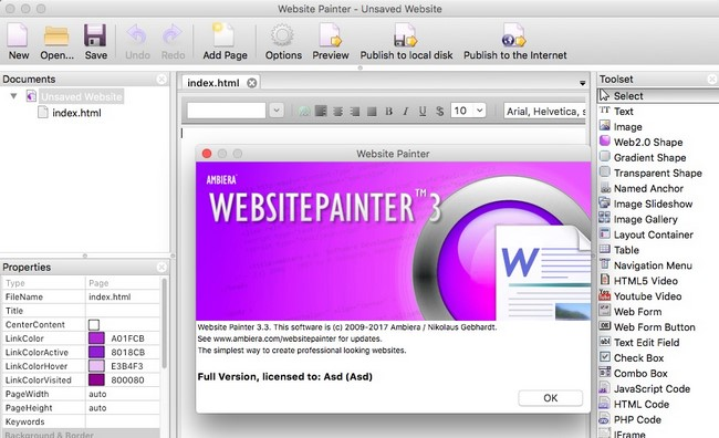 Ambiera WebsitePainter 3.3 Multilingual MacOSX