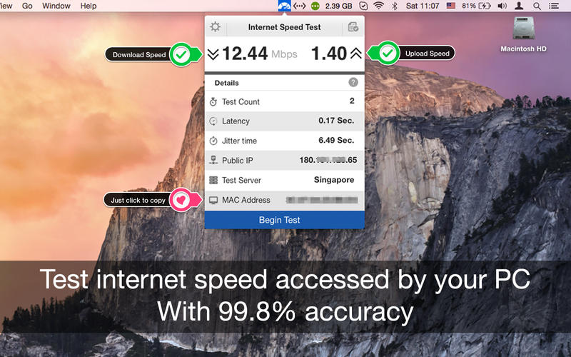 Internet Speed Test 2.4 MacOSX