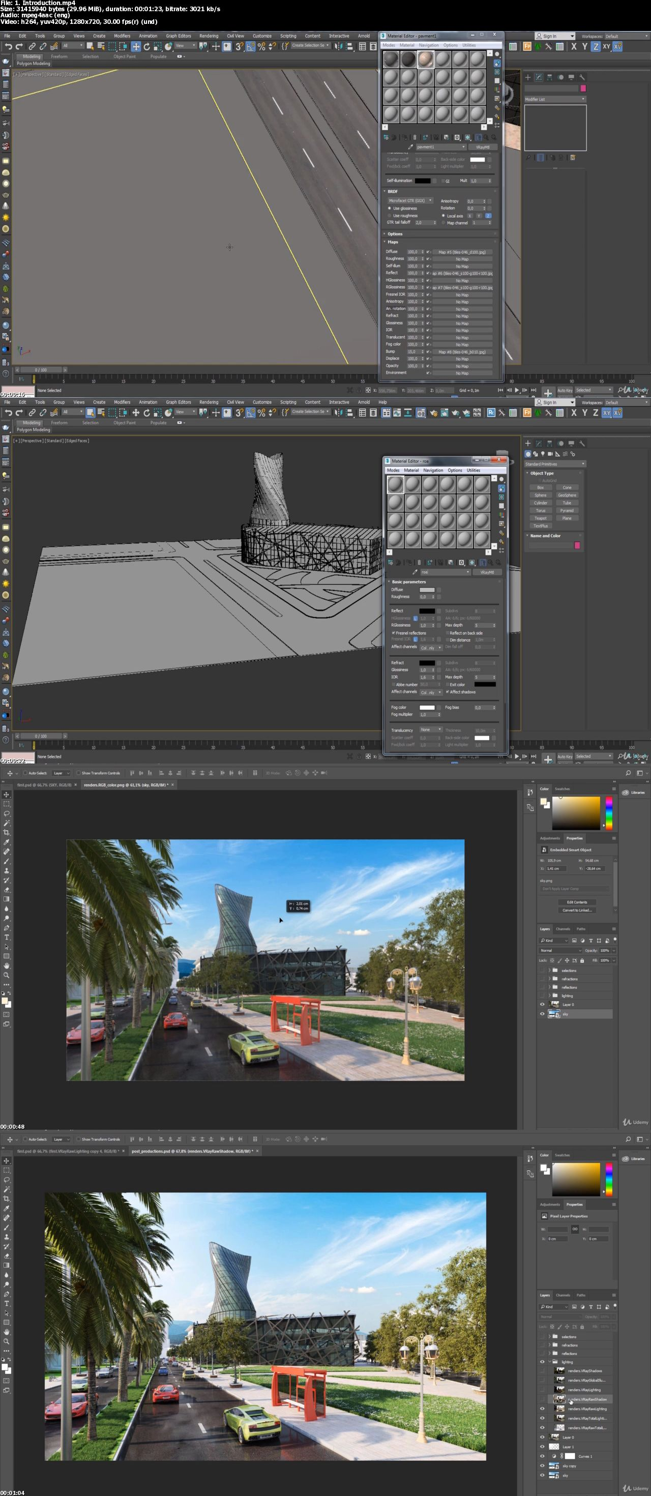 Learn 3DS MAX , VRAY , PS : Texture & Render the MediaTech