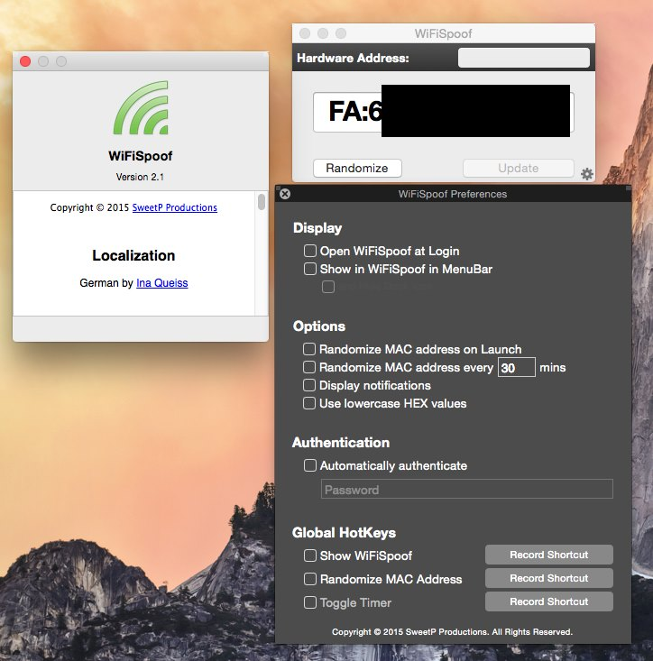 WiFiSpoof 2.1 Multilangual Mac OS X